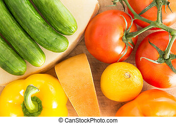 Colourful background of healthy fresh groceries