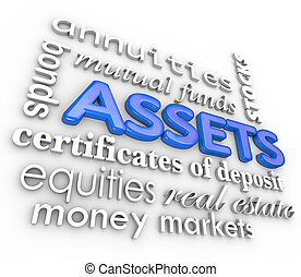 Assets Word Collage Stocks Bonds Investments Money Wealth...