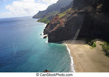 Na Pali coast in Kauai - an aerial view of Na Pali coast in...
