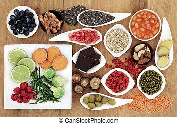 Healthy Super Food - Healthy super food selection over oak...