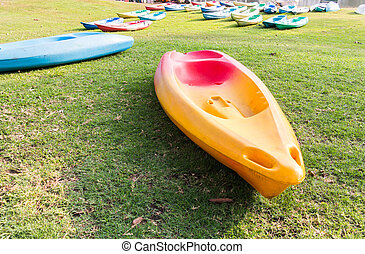 Kayak on the lawn in park