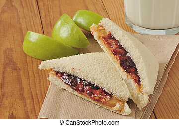 Peanut butter and jelly sandwich with the crust cut off