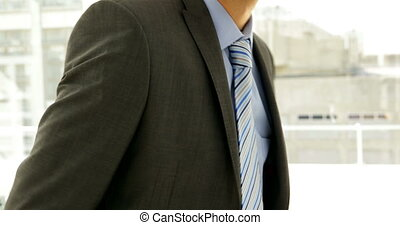 Businessman smiling at camera