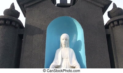 Virgin Mary Statue in cemetery - Virgin Mary Statue in old...