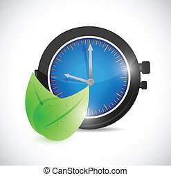 natural leaves over watch. illustration design