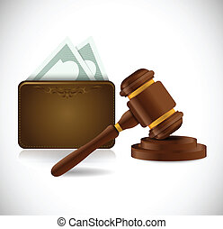 money wallet and law hammer illustration