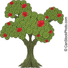Wonder tree  - Illustration of Wonderland rose tree
