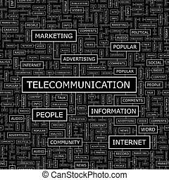 TELECOMMUNICATION Seamless pattern Word cloud illustration...