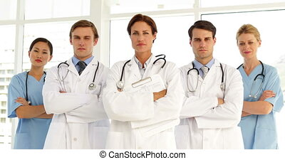 Confident medical team at the hospital