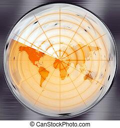 World Radar - The world map in a radar screen - blips can be...