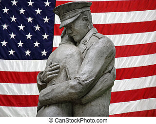 Off To War - Statue of a soldier saying goodbye