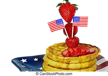Patriotic Breakfast - Flag and strawberries on a stack of...