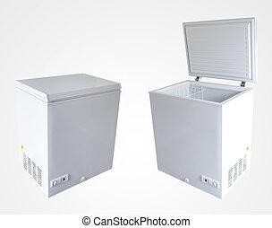 Freezers - Open and closed freezers isolated on plain...