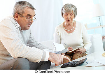 Home finances planning - Senior couple counting their...