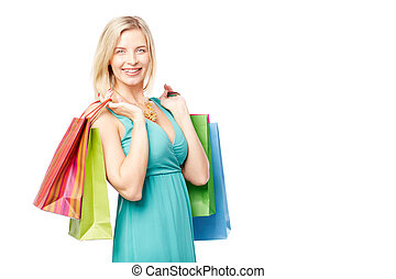 High spirits on shopping - Elegant woman with shopping bags