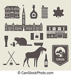 canada icons - Vector set of various stylized canada icons