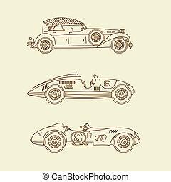 Vector vintage sport racing cars - Vector sport vintage...