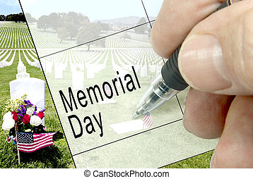 Memorial Day, Calendar Notation - Pen-in-hand calendar...