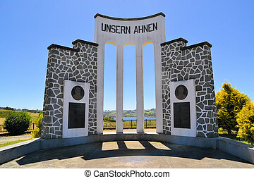 "Monument German immigrants Chile ""Unsern Ahnen"" - Monument..."