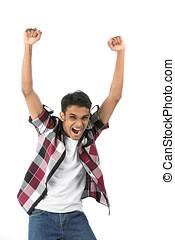 Indian man celebrating - Cheerful Indian man celebrating...