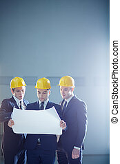 Construction industry - Copy-spaced image of a three...