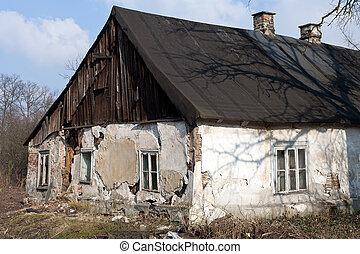ruins of uninhabited old rural house