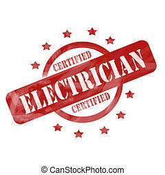 Red Weathered Cerfified Electrician Stamp Circle and Stars...