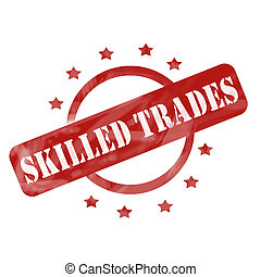 Red Weathered Skilled Trades Stamp Circle and Stars design -...