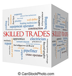 Skilled Trades 3D cube Word Cloud Concept with great terms...