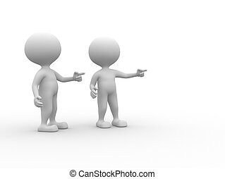 Pointing concept - 3d people - man, person presenting -...