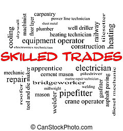 Skilled Trades Word Cloud Concept in red caps with great...