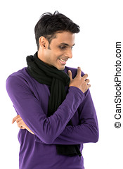 Happy young Indian man - Smiling young Indian man looking...