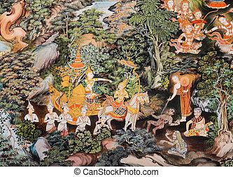 Thai mural painting inside of Buddhist temple, Thailand