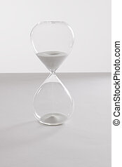 Hourglass on white surface