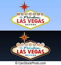 Las Vegas Sign Day and Night Vector illustration