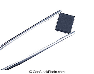 computer chip with tweezers, isolated white background
