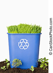 Blue Recycling Bin with Plants - Green Grass growing from...