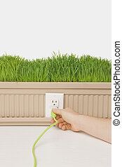 Green power plug - Green Grass growing from planter box with...