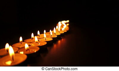 Long Curvy Line of Candles - Static shot of a long, curvy...