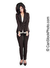 business woman in handcuffs - Young business woman in...