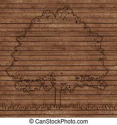 contorno, albero, vecchio, legno, assi, fondo