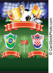 Soccer Poster World Championship 2014 Brazil with Shields,...