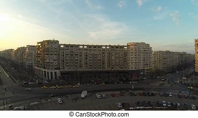 Flying Over Bucharest - Aerial view of Bucharest, Romania,...