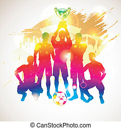 Soccer Players - Bright Rainbow Silhouettes Soccer Players...