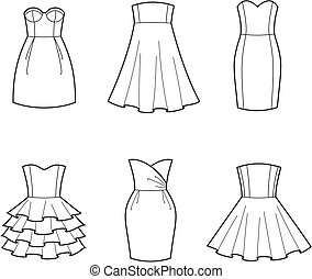 Dress - Vector illustration of womens dresses