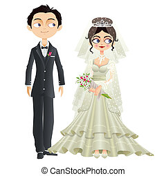 Christian Wedding Couple - easy to edit vector illustration...