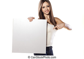 advertising girl - young pretty girl hold a blank board and...