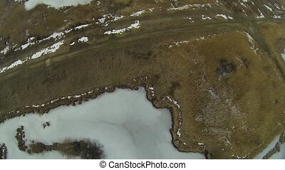 Flying Over Frozen Vacaresti Delta - Aerial view of the...