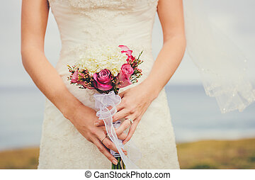 Bride - Beautiful Bride, Holding Flower Bouquet. Wedding.