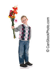 young boy mother day - young boy casual dressed, smiling,...